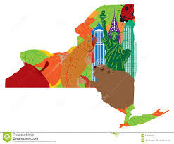 New York Map State by State Of New York Official Map Symbols Vector Illustration Stock