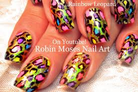 robin moses nail art neon animal print messy french mani