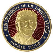 president donald trump 45th president coin in small coin box