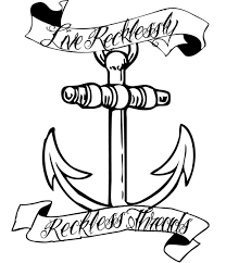 white outline anchor with banner tattoo design clip art library