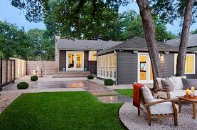 outdoor awesome concrete and grass landscape ideas around trees