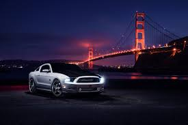 golden cars wallpaper ford mustang golden gate bridge night automotive