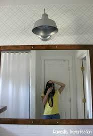 Galvanized Barn Light Fixtures Bathroom Remodel Hanging The Mirror U0026 Light Domestic Imperfection