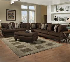 L Shaped Wooden Sofas Furniture Brown Leather Deep Sectional Sofa With Chaise Placed On