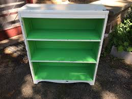 Green Bookshelves - white and green shabby chic bookshelf attainable vintage