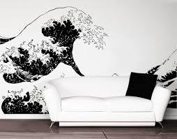 amazon com stickerbrand asian decor vinyl wall art japanese amazon com stickerbrand asian decor vinyl wall art japanese hokusai great wave wall decal sticker black 65