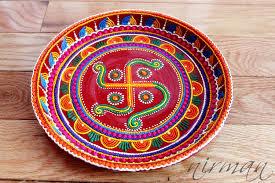swastika pooja thali decorative henna mehndi design