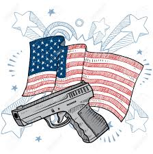 American Flag To Color Doodle Style Second Amendment Handgun Or Pistol Color Illustration