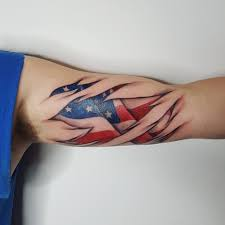 Red White Flag With Blue Star 53 Coolest Must Watch Designs For Patriotic 4th July Tattoos