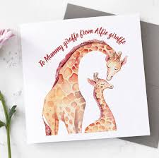 s day giraffe personalised giraffe s day card