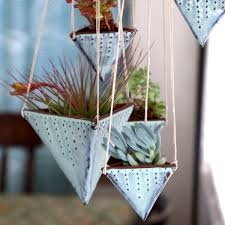 Modern Hanging Planters by Geometric Hanging Planter Triangle Pot With By Backbaypottery