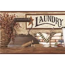 primitive laundry decor country laundry shelf wallpaper border