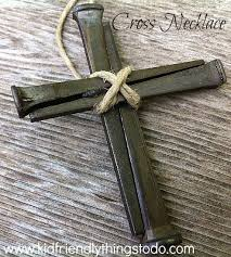 a cross necklace out of nails easter craft and sunday