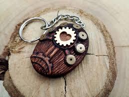 sale steunk tree keychain wood brown tree keychain wood