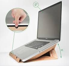 mac laptop holder for desk snip slash staple make a macbook desk stand from an old pizza box