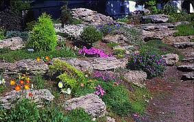 outdoors natural terraced rock garden with beautiful colorful
