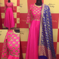Pink Colour Combination Dresses by Our Favorite Color Combination Pink Navyblue Long Anarkali With