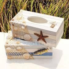 decorative tissue box marine fish starfish sea style wooden tissue box paper cover