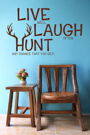 Hunting Themed Home Decor Live Laugh Hunt Elk Deer Antlers Bow Arrow Rifle Decal