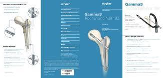 gamma3 trochanteric nail 180 flyer stryker