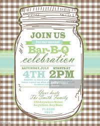 mason jar bbq with brown tablecloth picnic invitation design