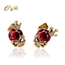 skull stud earrings onairmall crown diamond small gold skeleton skull
