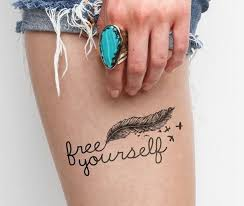 lovely feather bird with quote on thigh tattooimages biz
