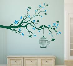 Home Decor Bird Cages Aliexpress Com Buy Tree Branch With Bird Cage Wall Art Sticker