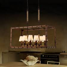 Traditional Lighting Fixtures 8 Light Vintage Industrial Lighting Fixtures In Rectangular Shape
