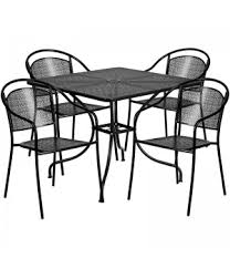 Steel Patio Table Square Black Indoor Outdoor Steel Patio Table Set With 4