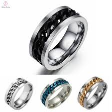 black steel rings images Fashion boys finger stainless steel rings black river rotatable jpg
