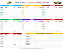 printable meal planner with calorie counter printable weekly meal planners with grocery list