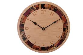 wall clock modern clock with hebrew numerals judaica wall clock wood and mosaic