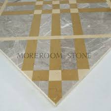 Marble Temple Home Decoration Iran Venus Grey Marble Waterjet Medallions Square Golden Line