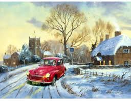 morris minor 1960s english pub nostalgic traditional christmas