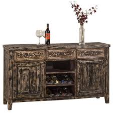 sofa table with two door storage and wine rack by hillsdale wolf