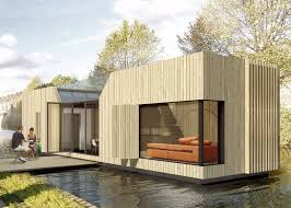beautiful lake huron floating house by mos inhabitat green following its design of the uk s first hibious house baca