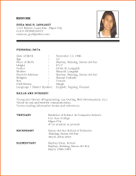 Sample Resume Caregiver by Resume Format For Freshers Simple
