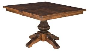 Square Wood Dining Tables Amish Rustic Plank Square Dining Table Pedestal Solid Wood