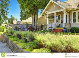 classic american house exterior with landscape stock photo image