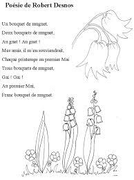 Imprimer la poésie de Robert Desnos le muguet  Chanson Enfant