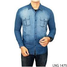 Baju Levis Biru kemeja anak muda lng 1475 kemeja pria terbaru batik slim