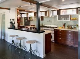 inspiring l shaped kitchen designs with eat bar table with big