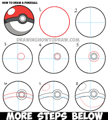 how to draw a pokeball from pokemon easy step by step drawing