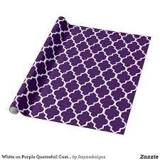 quatrefoil wrapping paper white on purple quatrefoil custom background color wrapping paper