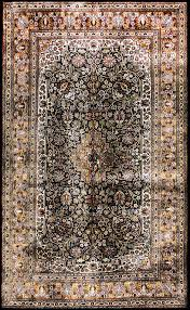 5 By 5 Rug 5 By 3 Pure Silk Rug Insignia Blue Khorasan From India