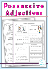 possessive adjectives set my tpt products pinterest language