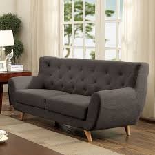 Long Tufted Sofa by Furniture Of America Rina Mid Century Modern Tufted Linen Like