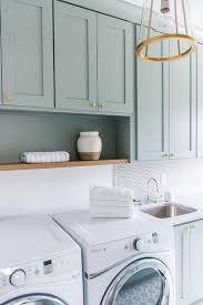 Laundry Room Cabinet Knobs Green Gray Laundry Cabinets Transitional Laundry Room