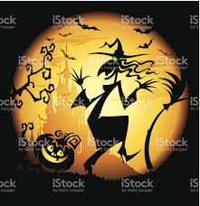 halloween background with funny witch stock vector art 96994617